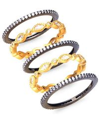 Freida Rothman - Marquise Gold Plated Stackable Rings - Lyst
