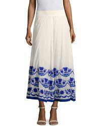 Christophe Sauvat Christopher Sauvat Cordoba Embroidered Maxi Skirt - Blue