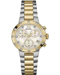 Bulova - Stainless Steel Diamond Watch - Lyst