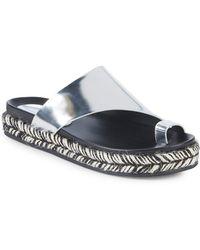 Sigerson Morrison - Laddie Super Glass Leather Espadrille Sandal - Lyst