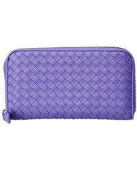 Bottega Veneta - Intrecciato Leather Zip Around Wallet - Lyst