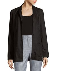 Saks Fifth Avenue Black - Open Front Linen Jacket - Lyst