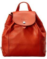 Longchamp Le Pliage Cuir Xs Leather Backpack - Orange
