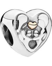 PANDORA - Heart Family 14k & Silver Charm - Lyst