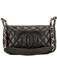 26d1e2a14d7bc0 Lyst - Chanel Black Lambskin Leather Cc Chain Shoulder Bag in Black
