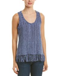 Three Dots Fringe Jumper Tank - Blue
