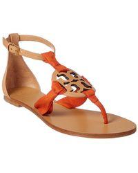 baaa0120eceeb5 Lyst - Tory Burch Miller Natural Leopard Print Leather Flat Sandals ...