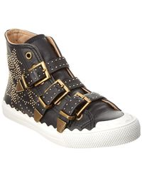 Chloé - Kyle Studded High-top Leather Sneaker - Lyst