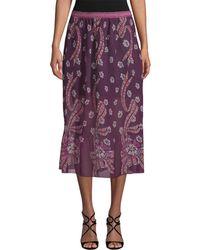 Anna Sui - Pleated Midi Skirt - Lyst