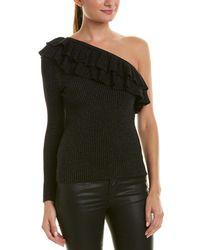 Rebecca Taylor Lurex One-shoulder Wool-blend Jumper - Black