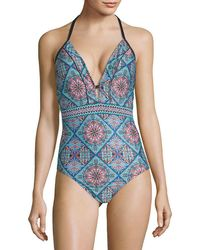 Laundry by Shelli Segal - One-piece Printed Plunging Swimsuit - Lyst
