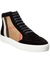 Burberry - Salmond House Check Suede Hi-top Sneaker - Lyst