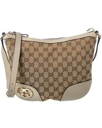 69c631b2b59 Gucci - Brown GG Canvas   White Leather Lovely Messenger Bag - Lyst