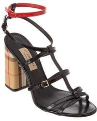 b6108ae8b399 Burberry - Vintage Check   Patent Leather Sandal - Lyst