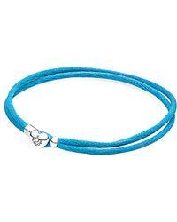 PANDORA - Silver Turquoise Fabric Cord Bracelet - Lyst