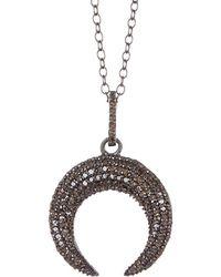 Adornia Fine Jewellery Rhodium Plated Silver 0.50 Ct. Tw. Diamond Celestial Necklace - Metallic