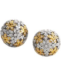 Heritage - Oro Trend 18k Two-tone 3.38 Ct. Tw. Diamond Flower Ball Studs - Lyst