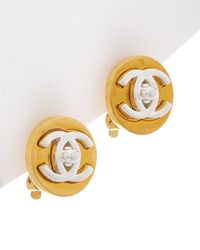 Chanel - Gold & Silver-tone Cc Extra Small Turnlock Clip-on Earrings - Lyst