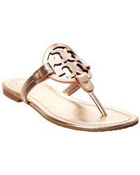 ab8b63cd175e Lyst - Tory Burch Miller Metallic Leather Thong Sandals