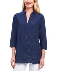 Foxcroft - Embroidered Eyelet Tunic - Lyst
