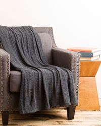 """Portolano - """"minerva"""" Charcoal Cable Knit Throw - Lyst"""