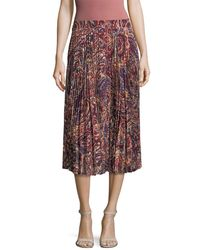 Haute Hippie - Sunburst Pleated Flare Midi Skirt - Lyst