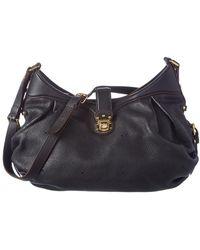 7479b7e3750b Lyst - Louis Vuitton Mahina Leather Handbag in Black