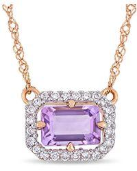 Rina Limor - Fine Jewellery 14k Rose Gold 0.55 Ct. Tw. Diamond & Amethystnecklace - Lyst