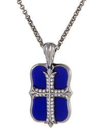 Stephen Webster - Silver & Rhodium 0.19 Ct. Tw. Diamond & Lapis Lazuli Necklace - Lyst