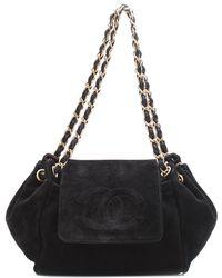 Chanel - Black Suede Half Moon Flap Bag - Lyst 158aaa650e