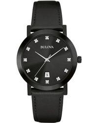 Bulova - Men's Diamond Accent Black Leather Strap Watch 38mm 98d124 - Lyst