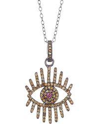 Adornia - Fine Jewellery Rhodium Plated Silver 1.00 Ct. Tw. Gemstone Evil Eye Necklace - Lyst