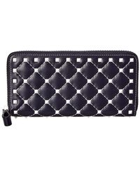 Valentino - Free Rockstud Spike Leather Zip Around Wallet - Lyst