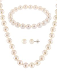 Splendid - Silver 8-8.5mm Freshwater Pearl Bracelet, Earrings, & Necklace Set - Lyst