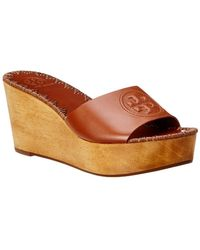 Tory Burch - Patty 80mm Leather Wedge Sandal - Lyst