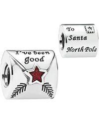 PANDORA - Silver Enamel Letter To Santa Charm - Lyst
