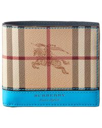 Burberry - Haymarket Check & Leather Bifold Wallet - Lyst