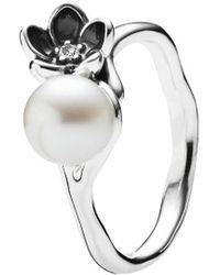 PANDORA - Mystic Floral Silver Pearl & Cz Ring - Lyst