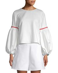 White Story - Balloon Sleeve Crop Top - Lyst