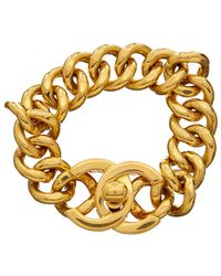 Chanel - Gold-tone Small Cc Turnlock Bracelet - Lyst