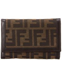 Fendi - Brown Zucca Canvas Wallet - Lyst