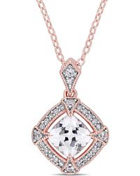Rina Limor - Fine Jewellery 18k Rose Gold Over Silver 1.44 Ct. Tw. Diamond & White Sapphire Necklace - Lyst