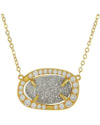 Melinda Maria - 18k Plated Grey Druzy Necklace - Lyst