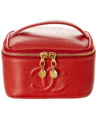 Chanel - Red Caviar Leather Horizontal Vanity Case - Lyst