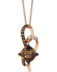 Le Vian - ? Chocolatier? 14k Rose Gold 2.18 Ct. Tw. Diamond & Smoky Quartz Necklace - Lyst