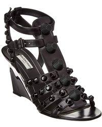 Balenciaga - Studded Leather Wedge Sandal - Lyst