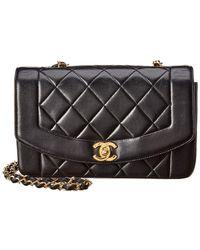 Chanel - Black Quilted Lambskin Leather Small Angled Classic Flap Bag - Lyst