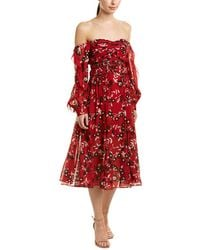 7f7c704491ad Lyst - Self-Portrait One-shoulder Floral Embroidered Cutout Midi ...