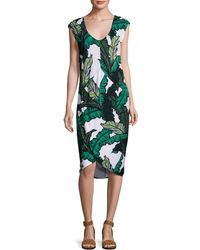 Tracy Reese - Shirred Cocoon Midi Dress - Lyst