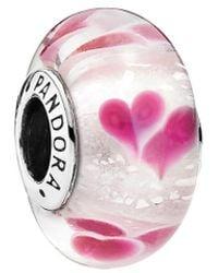 PANDORA - Silver Murano Glass Wild Hearts Charm - Lyst